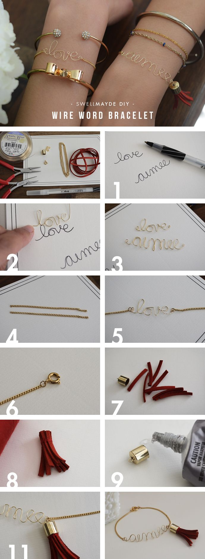 swellmayde: DIY | WIRE LOVE / NAME BRACELET WITH TASSEL... Great pre-graduation project.