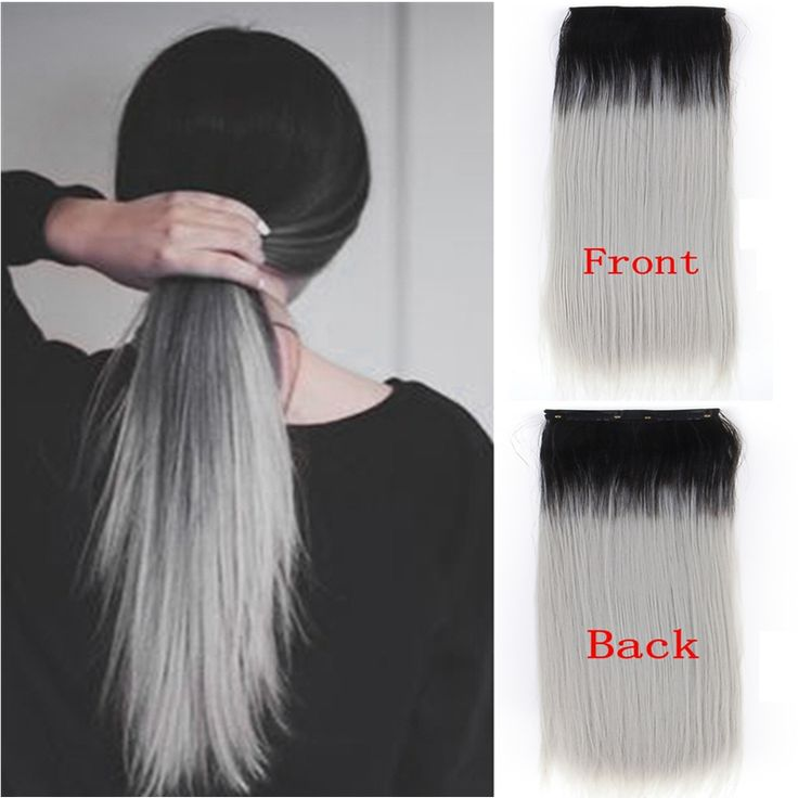 Synthetic Clip In Ombre Hair Extension 20inch Long Straight Black And Gray Streaked Hairpiece 2Clips In Hair Extension For European Women,Low price and High Quality