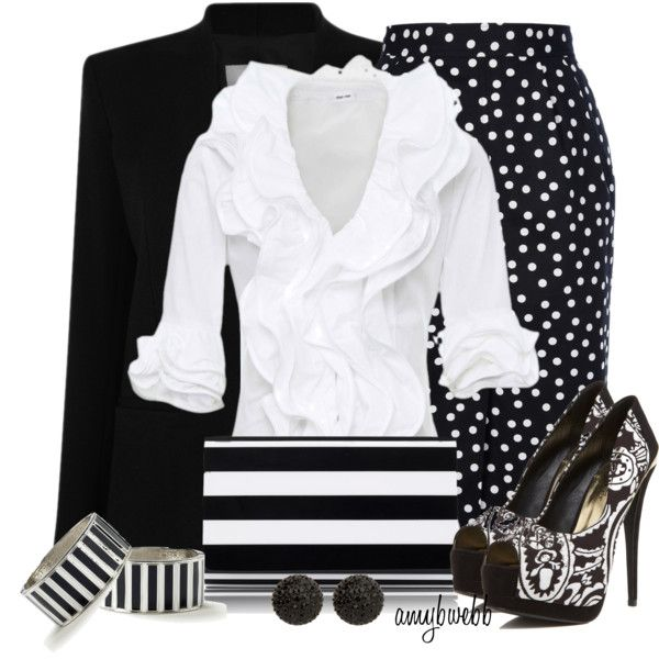Work OutfitFashion Outfit, Woman Fashion, Polka Dots, Black White, Fashion Looks, Work Outfit, Weekend Fashion, Spring Outfit, Business Casual