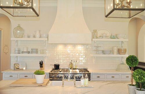 Floating Shelves, Kitchens Design, Open Shelves, Lights Fixtures, Kitchens Tile, Range Hoods, White Subway Tiles, Open Shelving, White Kitchens