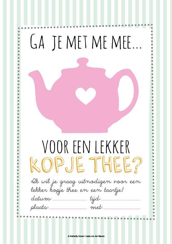 Gratis printable, uitnodiging voor een high tea kopje thee. Download: http://www.liekevanderbiezen.nl/wp-content/uploads/2014/08/KaartjeKopjetheeA5.pdf