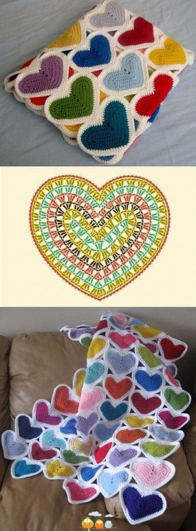 a crochet blanket made out of hearts! you may also use the following free pattern: http://www.mypicot.com/patterns/8001.pdf ༺✿ƬⱤღ https://www.pinterest.com/teretegui/✿༻