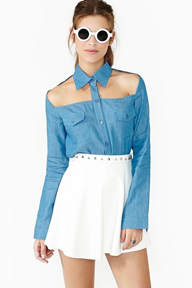 Chambray Cutout Shirt