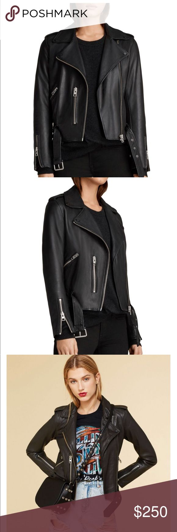 Black genuine leather jacket from AllSaints. Genuine sheep leather. Butter soft. Classic biker fit. Best selling style from this iconic brand known for their amazing leather goods. All Saints Jackets & Coats