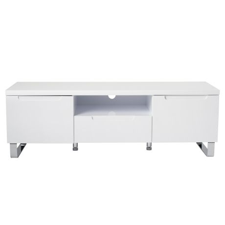 Sleek 2 Door/1 Drawer Entertainment Unit | Freedom Furniture and Homewares something like this (or a blanket box) for end of bed?