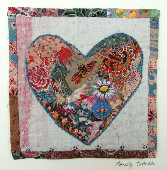 I treasure the old and worn and refashion them into little textile collages in my studio in a converted manse in Northumberland, England. Everything I make is individual and unique.  This little hand stitched heart is outlined in chain stitch and tiny bits of fabric have been appliquéd in to its centre. These are then embellished with embroidery stitching and a really special button featuring a ballet dancer. The piece is made on to a support of a very old piece of quilt .I have patchworked…