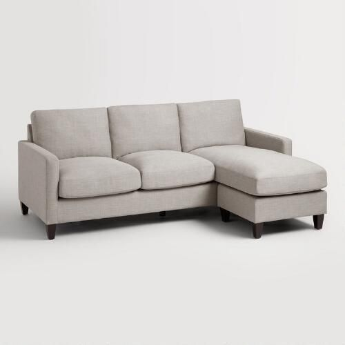 With a chaise frame that can be positioned on either side for the ultimate in comfort, this versatile seating option offers plenty of room for you and your family to kick back and relax. A flawless silhouette with soft woven upholstery in a dove hue makes it a chic addition to your living room.