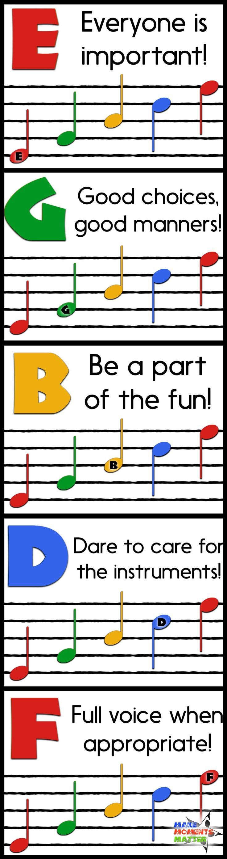 FREE Rules Posters for the Music Classroom based around EGBDF and FACE!