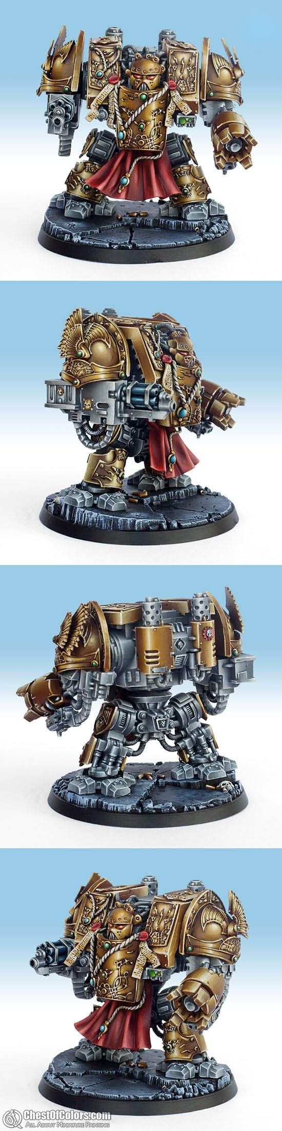 Adeptus Custodes Dreadnought painted by Benathai for a private collector. More Custodians in this album: http://chestofcolors.com/gallery/benathais-works/adeptus-custodes/