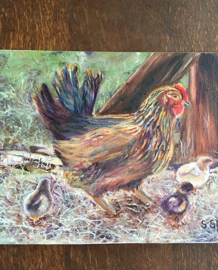 Hen and chicks - Sue Smyth.  37x26cm