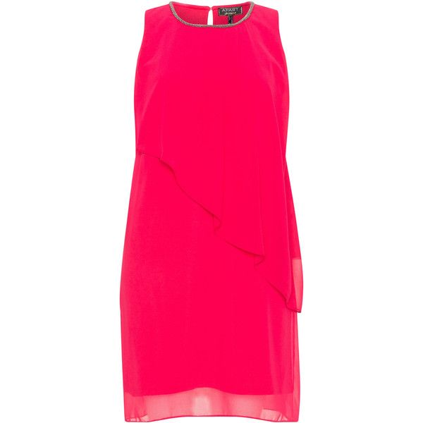 Apart Pink Plus Size Chiffon embellished cocktail dress (£64) ❤ liked on Polyvore featuring dresses, pink, plus size, plus size pink dresses, pink chiffon dress, plus size cocktail dresses, sleeveless dress and pink dress