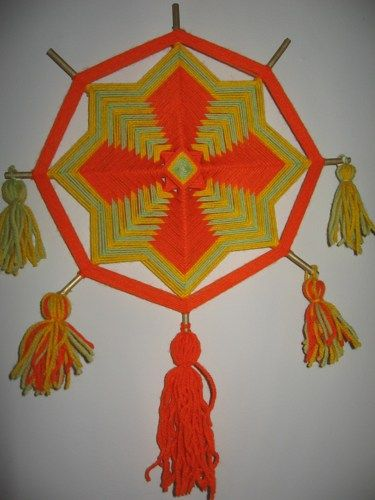 Citrus Mandala 12 inch 8 sided Ojo de Dios