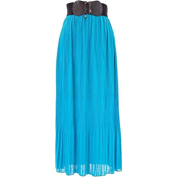 Turquoise Long Pleated Chiffon Maxi Skirt With Belt ($25) ❤ liked on Polyvore featuring skirts, bottoms, turquoise, chiffon maxi skirt, wide elastic belt, long pleated skirt, pleated maxi skirt and long ankle length skirts