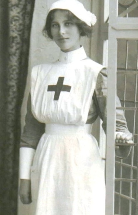 WWI nurse. Kitty's uniform in SILENCE FOR THE DEAD would look a little like this, though she was not in the Red Cross.