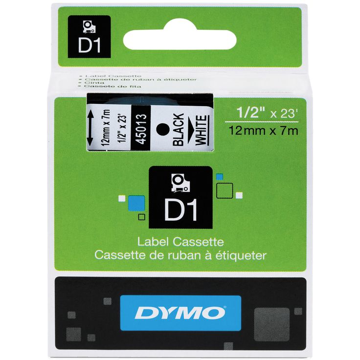 Dymo D1 Standard Tape Cartridge 1/2 in. x 23 ft. Black on White