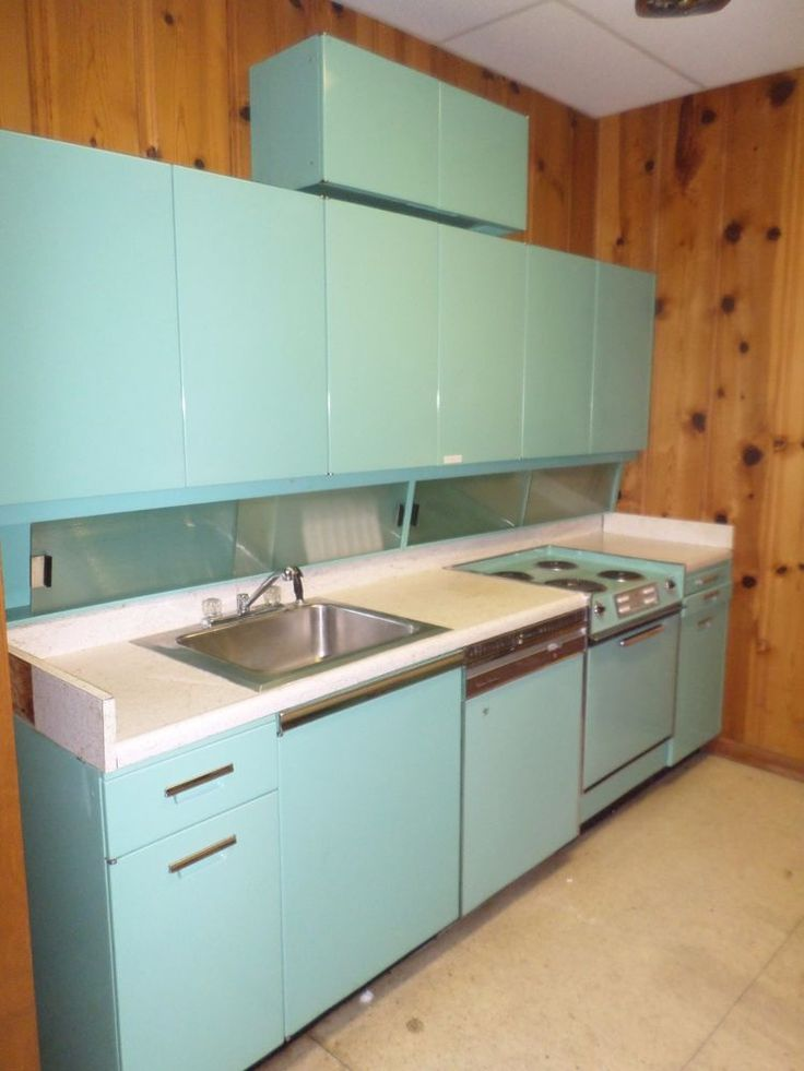 Simple Mid Century Modern GE Kitchen Refrigerator Stove Oven Dishwasher Cabinets
