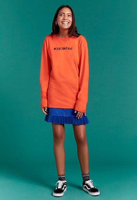 Bring some streetwear vibes into the mix with a sporty long-sleeved top and cult fave Vans of the Old Skool variety. The orange and blue colour-clash makes for a v fashion twist and will get you ready for sunnier days