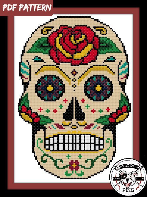 Sugar Skull Cross Stitch Pattern / PDF Day of the by PyroDogPins