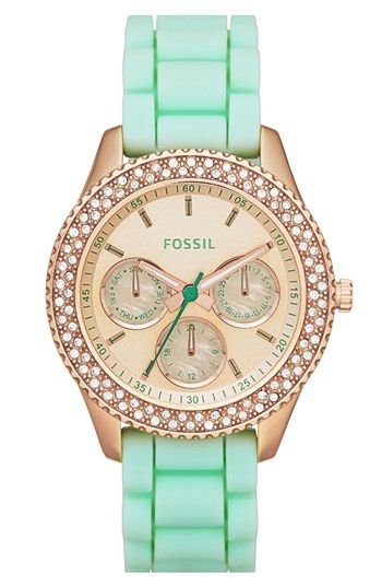 Fossil 'Stella' Crystal Bezel Multifunction Silicone Strap Watch, 37mm available at #Nordstrom