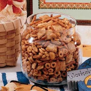 Nuts and Bolts aka Chex Mix---  Papaw's Recipe:  1/2 c butter or margarine  2 tbl worcestershire sauce  1 1/2 t season salt  3/4 t garlic powder  1/2 t onion powder  3 c corn chex  3 c rice chex  3 c wheat chex  1 c nuts  1 c pretzels  1 c bagel chips  (My changes: 3 cups nuts, 3 cups homeycombs, 2 cups bugles, no pretzels or bagel chips)