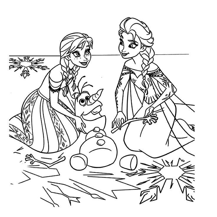 Leuk voor kids kleurplaat ~ Anna, Olaf de sneeuwman en Elsa