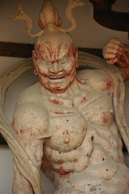 Kongo rikishi Agyo guardian statue at Horyu-ji temple, Japan