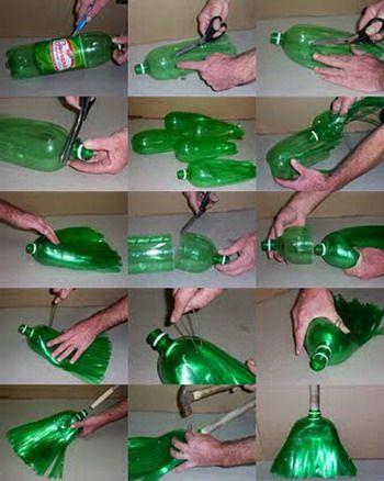 Hacete una escoba con botellas