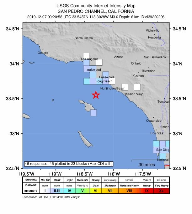 Earthquake Of Magnitude 3 Near San Pedro In Los Angeles San Pedro San Hesperia