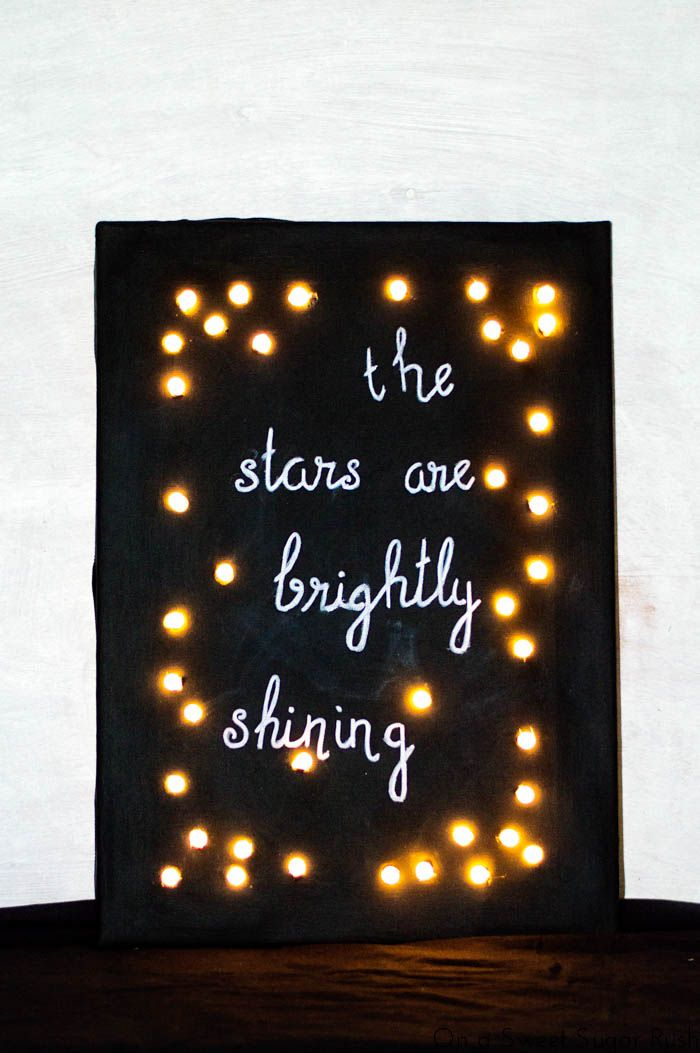 I made a magnetic framed chalkboard almost a year ago and this DIY twinkle light canvas chalkboard is just as easy to makeas that one. This chalkboard looksfestive and it's sopretty with the lights during the dark winter season. To make it more Christmas-y I wrote a line from the lyrics of Oh Holy … … Continue reading →