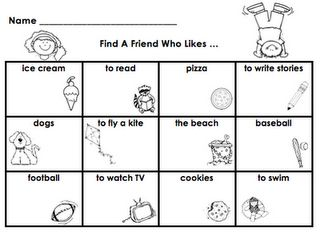 Find a Friend Who Likes . . . might use this as an end of the year activity in K to encourage play dates over the summer