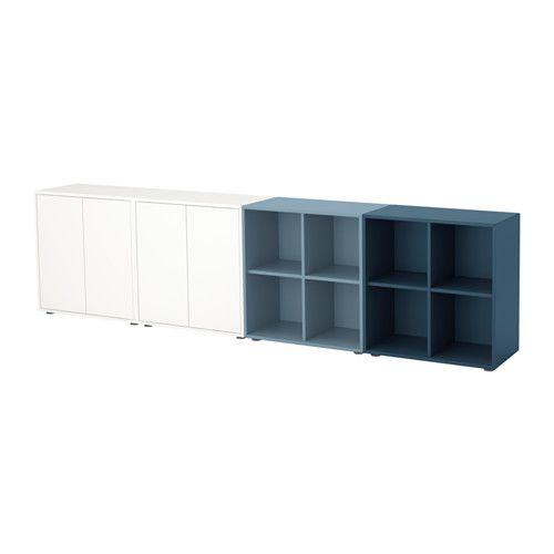 IKEA - EKET, Combinación armario+patas, , Una combinación baja proporciona un práctico espacio de almacenaje por ejemplo debajo de una ventana.Combina almacenaje abierto y cerrado para enseñar o esconder tus objetos.Las puertas y cajones llevan un sistema integrado para abrir/cerrar; así no necesitas pomos ni tiradores y se abren con una ligera presión.