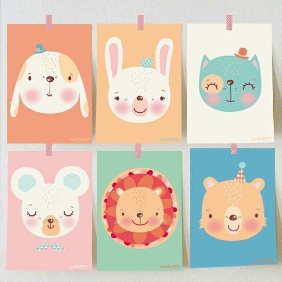 Serie de láminas de animales para combinar entre ellas ♡ http://www.decohappy.com/vinilosinfantiles/