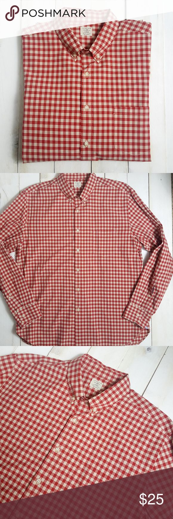 "Mens J Crew Red Checkered Dress Shirt XL 17-17 1/2 Condition: Mint, pre-owned condition  2-PLY 100% Cotton  Size: XL - 17-17 1/2  Chest: 25""  Sleeve: 27""  Length: 30""  ~  All items are inspected for flaws and are stated as such in the listing. Pre-owned items are washed and are guaranteed pet/smoke-free.  Customer satisfaction is very important, so if you ever have an issue with your order, please feel free to message me and I will be happy to assist you.  If your item does not fit or you…"