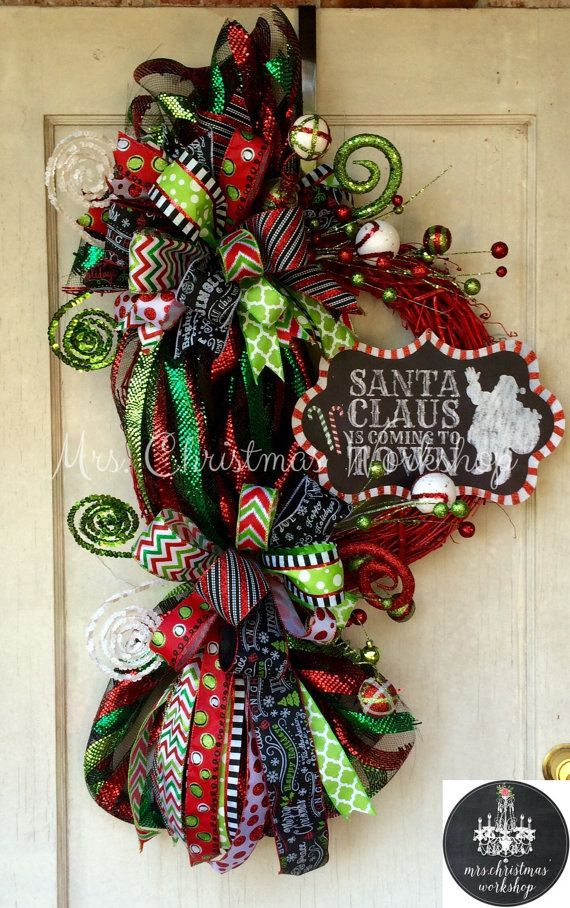 Christmas wreath grapevine wreath lollipop by MrsChristmasWorkshop