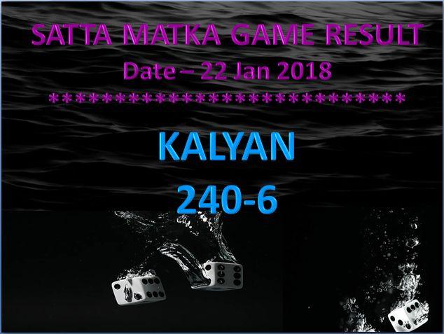 KALYAN satta Matka Open result Date - 22 Jan 2018 #satta #matka #sattaking #kalyanmatka http://sattaking143.mobi/