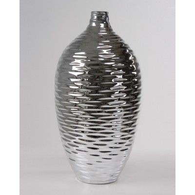 Ripple Silver Vase  Ships Free! www.selecthomeaccents.com