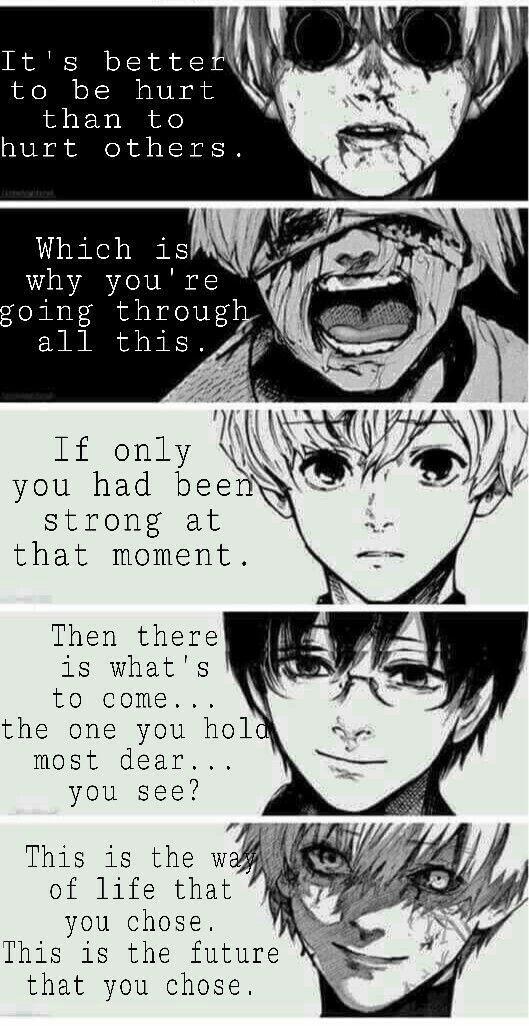 Sie haben sich dafür entschieden, schwach zu sein und andere zu verteidigen. Du hast dich entschieden, verletzt zu werden. Sie haben sich entschieden zu lassen