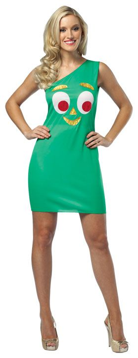 #4103 Gumby Tank Dress - Now the girl in your life can experience the fun of dressing up as Gumby.  He's iconic and classy, and now…hot!  The Gumby dress costume will be the talk of any Halloween Gathering this year. #gumby #tankdress #halloween #event