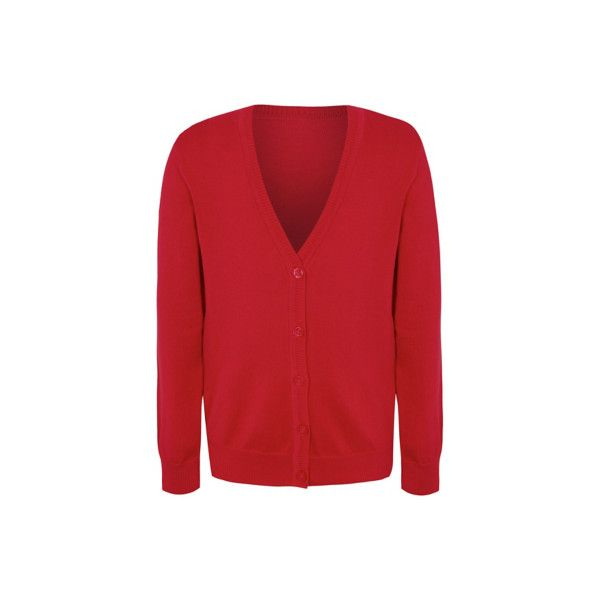 George Girls School Cardigan ($5.16) ❤ liked on Polyvore featuring tops, cardigans, red, red top, v-neck cardigan, cardigan top, cotton v neck cardigan and v neck cardigan