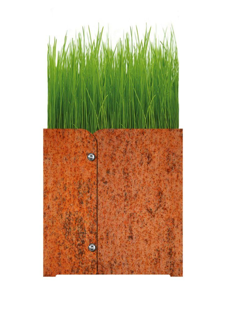 Rusted Planter, Medium Material Weatherproof steel, rusted material, plant pot and coaster made from plastic  Dimensions (mm) Small: 300 x 300 x 310 Medium: 400 x 400 x 410
