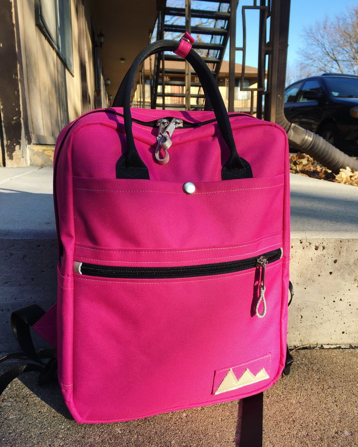 Pink Backpack #backpack #pink #schoolbag #schoolbackpack #pattern #canvas #diy #sewing #handmade #etsyshop