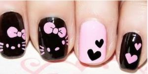 Cute Hello Kitty Nail Art