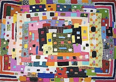 from Art Found Out/World Arts Observed:  The Siddis who live in Karnataka, India are of African descent... Bold and complex, the Siddis quilts present a geometry that transcends the decorative. Reminiscent of Gee's Bend quilts from rural Alabama, the Siddis quilts show that the extraordinary can be found in the simplest of domestic endeavors.