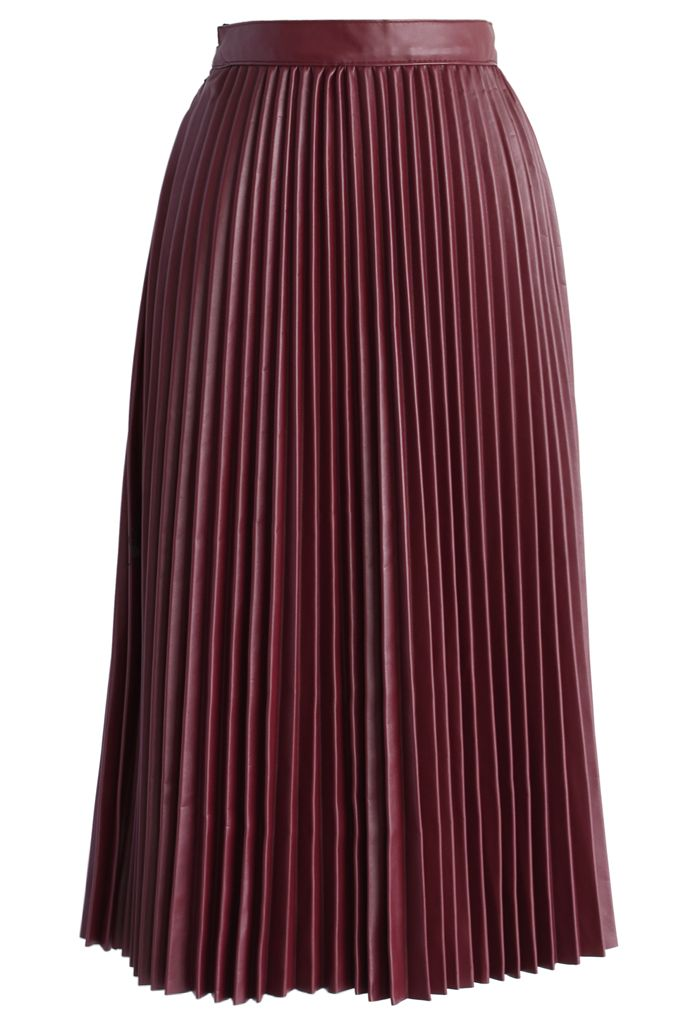 Pleated Faux Leather Midi Skirt in Wine - Bottoms - Retro, Indie and Unique Fashion