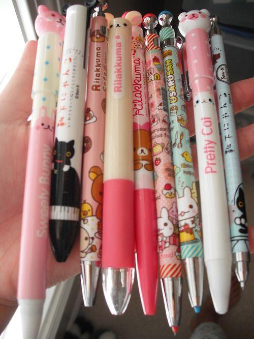 rilakkuma and cute pens -- I want them all!!