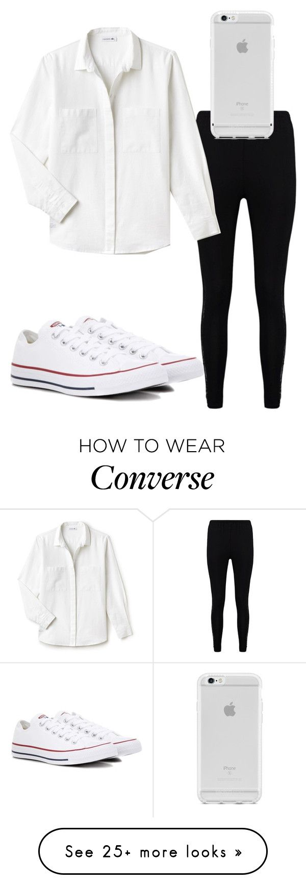 """""""Untitled #814"""" by hdflynn on Polyvore featuring Boohoo, Lacoste and Converse"""