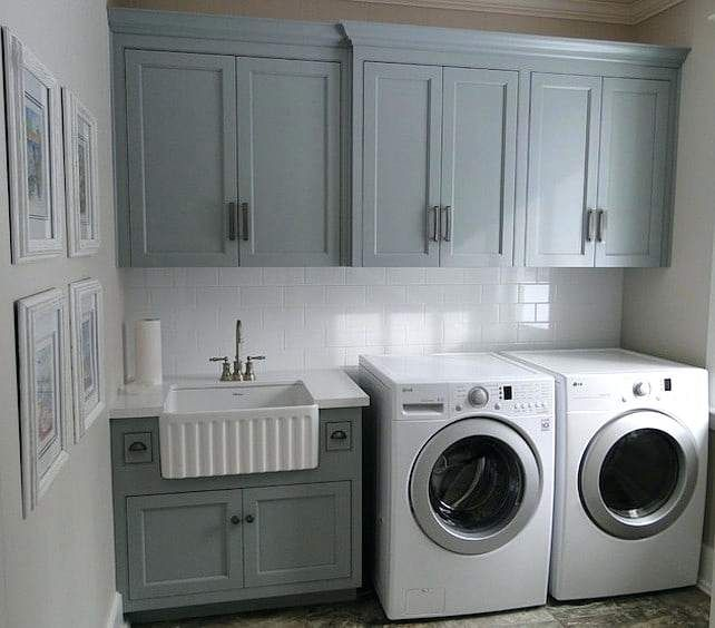 Laundry Room Vanity Grey Laundry Room With Farmhouse Sink Laundry