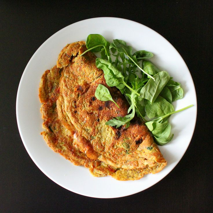 Vegan Richa: Chickpea flour Omelette with spinach, onion, tomato, bell ...