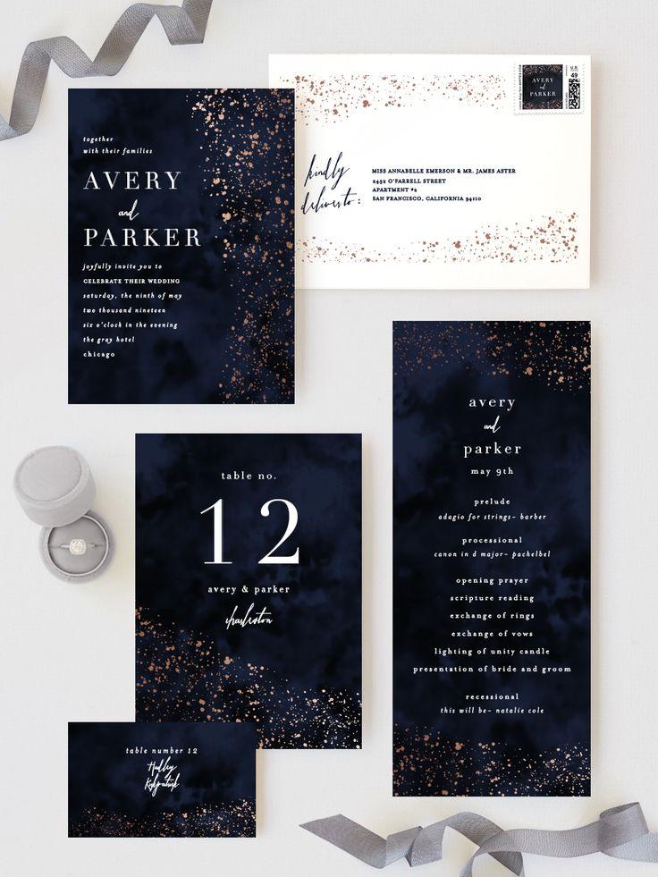 glistening stardust Customizable Foil pressed Wedding Invitations