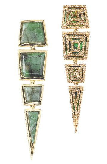 Front (left) and back (right) of Machu Picchu Earrings with Emerald Inlay, Full Cut Champagne Diamonds in 18K Yellow Gold, and Pavé Diamond Underside, $9,800, maiyet.com